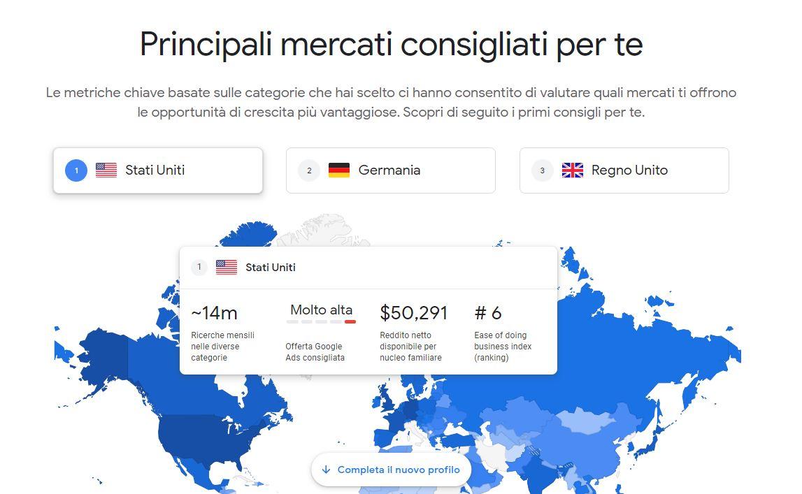 Scopri dove esportare all'estero nel B2B con google market finder