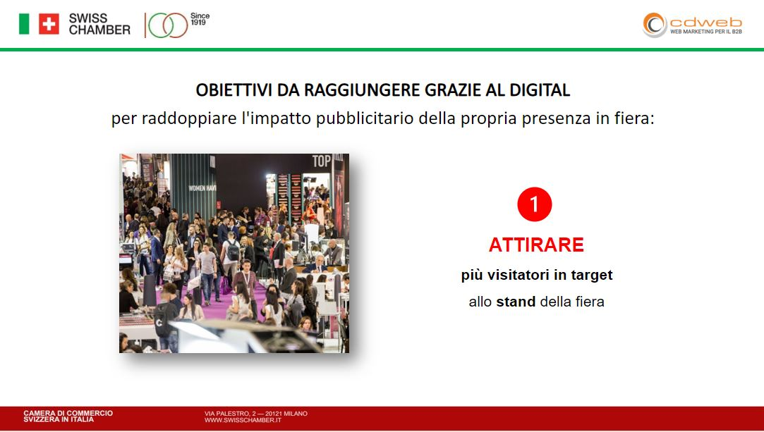 stabilire gli obbiettivi di una strategia digital marketing B2B per attirare visitatori allo stand
